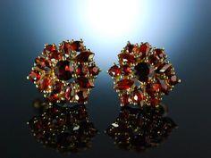Rotes Funkeln! Schöne Böhmische Granat Ohrringe Ohrstecker Gold 333 Garnet Earrings, feiner Granat Schmuck bei Die Halsbandaffaire