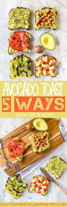 Avocado Toast: 5 Ways (Vegan + GF) – Avocado Ideen Avocado Toast, Whole Food Recipes, Cooking Recipes, Avocado Dessert, Vegetarian Recipes, Healthy Recipes, Vegan Avocado Recipes, Vegan Foods, Vegan Gluten Free