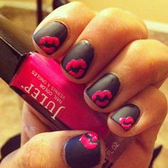 Black Nails with Pink Kisses