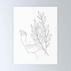 Minimal Line Art Woman Face Greeting Card by Nadja - Set of 3 Folded Cards x Face Lines, Plant Drawing, Canvas Prints, Art Prints, Folded Cards, Face Art, Woman Face, Illustration, Coloring Books