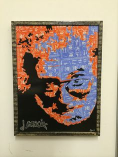 Jerry Garcia...tootsie pop wrappers with ink and acrylic on wood.