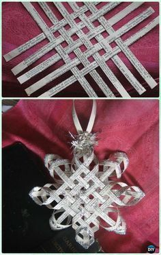 DIY Woven Star Paper Ornament Instruction- DIY Paper Christmas Tree Ornament Craft Ideas