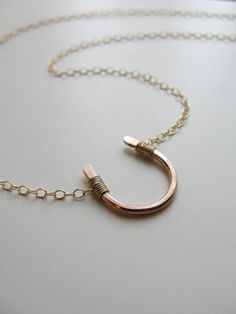Lucky rose gold horseshoe necklace - petite gold horseshoe necklace. $50.00, via Etsy.
