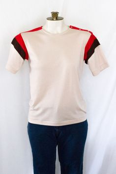 1980s tan, coral, brown top from Empire Knit Wear SIZE S NEW with tags by TimeTravelFashions on Etsy