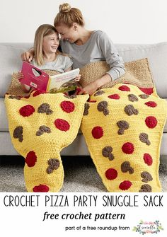 Crochet this cute pizza slice snuggle sack blanket afghan for kids and adults from my free pattern roundup! (similar to the mermaid tale blanket craze)