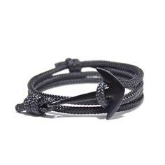 Mens Anchor Bracelet in Black Rope - Rope Bracelet, Nautical Bracelet, Fish Hook Bracelet, Anchor Bracelet, Women's Men's Bracelet by PortUnionTrading on Etsy https://www.etsy.com/listing/196938442/mens-anchor-bracelet-in-black-rope-rope