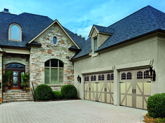 Amarr Garage Doors: Classica Collection Lucern design with Rhine Windows and Blue Ridge handles and hinges in Sandtone/Wicker Tan. Visit http://www.amarr.com/residential/collection_options/classica to view more two-tone color options.