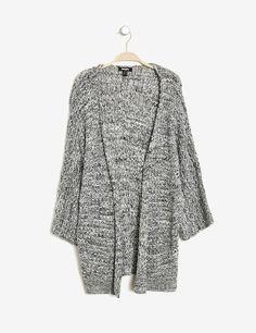 gilet kimono maille ajourée noir et blanc mouliné