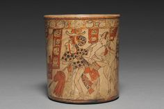 New acquisitions by the Cleveland Museum of Art:  Vessel with Battle Scene, Late Classic Period (ca. AD 600-900). This outstanding cylinder vessel belongs to a small group of ceramics painted by the same Maya master artist.