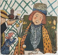Ludwig Bemelmans's Woman with a Dog, a mural in La Colombe restaurant in Paris.