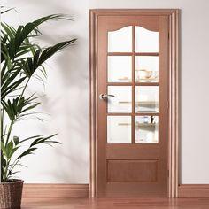 Kent 8 light Mahogany Timber Door with Bevelled Clear Safety Glass. #hardwooddoor #traditionalmahoganydoor #internalglazeddoor