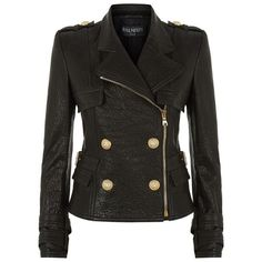 Balmain Leather Double-Breasted Jacket ($3,675) ❤ liked on Polyvore featuring outerwear, jackets, real leather jacket, 80s fashion, 80s jackets, 100 leather jacket and double breasted jacket