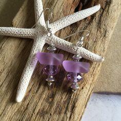 Sea glass periwinkle earrings ~ unique OOAK Beach Glass Earrings ~ seaglass wedding jewelry ~ frosted glass artisan wire wrapped earring