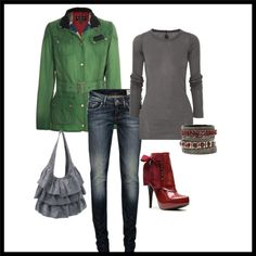 green and red, created by mimieismannteneyck on Polyvore