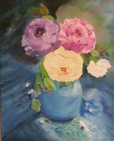Original oilpainting roses in blue vase on canvas by Blumenmalerei, €45.00