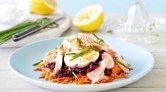 Beetroot And Carrot Salad With Salmon And Egg