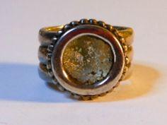 Vintage Southwest Bezel Set  Abalone Ring  Sterling Silver Size 4     Width 14 - 10 MM by GemstoneCowboy on Etsy