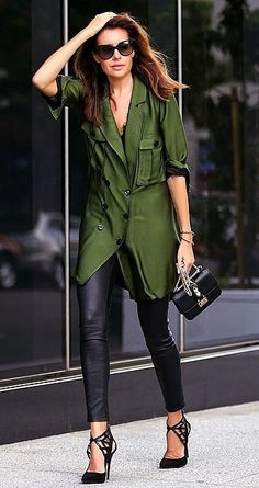 A Button-Front Shirt, Leather Pants, and Heels
