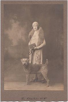 Lady and Large Terrier - Vintage Woman & Dog Terrier Airedale, Irish Terrier, Terrier Dogs, Terriers, Photos With Dog, Dog Pictures, Vintage Dog, Vintage Woman, Large Dog Breeds