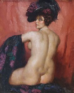 Norman Lindsay Back Nude Study  oil on board Copyright © Norman Lindsay