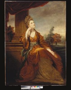 """""""Maria, Duchess of Gloucester"""" by Sir Joshua Reynolds (1774) in the Royal Collection, UK - From the curators' comments: """"The imagery is typical of the 'Age of Sensibility' in stressing the dreamy, nature-loving soulfulness of the sitter. She is shown with head turned half to the right and inclined upwards. She is leaning her right elbow on the plinth of a column to the left, her other arm on her lap; wearing a bronze-coloured classical robe tied with a 'Turkish' sash."""""""