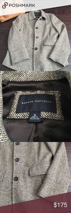 Banana Republic Tweed Blazer Absolutely perfect tan / brown / off white tweed blazer from Banana Republic Retail Store. Silk lined inside. I should have purchased a size smaller, hate to part with this beauty. Banana Republic Jackets & Coats Blazers