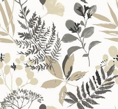 Woodland (W0047/02) - Clarke & Clarke Wallpapers - A beautiful Woodland design with overlaid leaves in a hand painted effect. Showing in shades of charcoal and beige on a off white background - more colours are available. Please request a sample for true colour match. Paste-the-wall product.