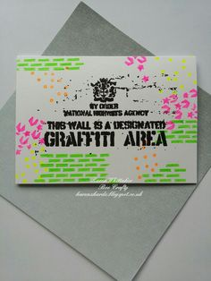 Graffiti Area inspired by Banksy stamps from Bee Crafty  #beecraftystamps #dtsample #inspiredbybanksy #graffitiarea #graffiti #neon #brickwall #dinkables #splatter  #stamping #stamps #craft #ilovetocraft #creativity #karenzkardz