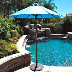 Outdoor Umbrella: Galtech 6-ft. Wood Cafe Market Umbrella - 111-50
