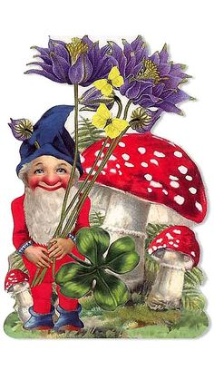 beautiful vintage print of gnome in garden