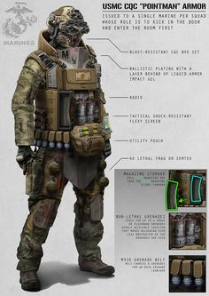 battle this soldier would carry a Grenade launcher and an carbine on his back, he would also be holding a Benelli tactical shotgun and an pistol on his leg holster and 10 pounds of explosives and an machine gun over his shoulder. Tactical Armor, Tactical Shotgun, Future Soldier, Info Board, By Any Means Necessary, Ex Machina, Armor Concept, Concept Art, Military Gear