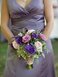 textured, whimsical purple bouquet...love adding some white gerberas, monte casino, and lisianthus