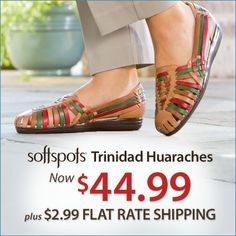 Remember the comfort of your favorite huarache? It's back! Try the Softspots Trinidad Huaraches for only $44.99 + $2.99 FLAT RATE SHIPPING. Use Code: PNTRIDAD