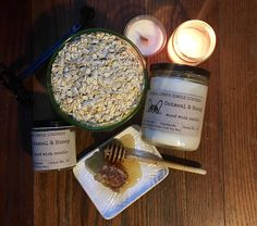 Oatmeal and Honey scented candle wood wick self care