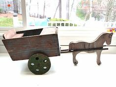 ANTIQUE PRIMITIVE FOLK ART WOOD HORSE DRAWN ORIGINAL PAINT CART