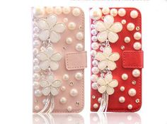 Pearl floral diamond Hard Back Mobile phone Case Cover bling girly wallet Case Cover for iPhone 4 4s 5 5c 5s 6 6 plus Samsung galaxy s3 s4 s5 s6 note2 3 4