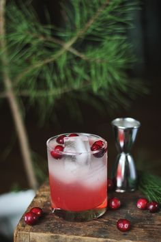 Cranberry Pine Mocktail - Cranberries, Lemon Juice, Pine Syrup, Bitters, Sierra Mist, Club Soda.