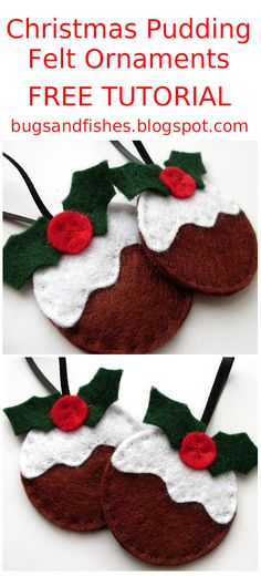 Today, a guide to making yummy felt Christmas Puddings!      You will need...   A sewing needle  Some pins  Brown, white, dark green and red...