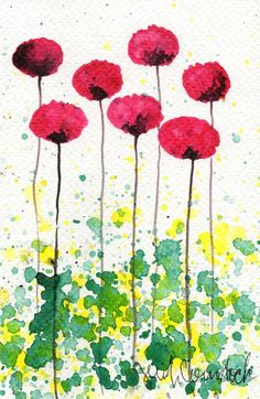 Watercolor Painting: Watercolor Flower Painting -- Art Print --  Fruity -- Pink Flowers -- 5x7