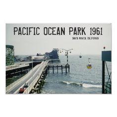 Ocean Park Ticket, Custom Posters, Vintage Posters, Santa Monica California, Southern California, Sky Ride, Park Photos, Pacific Ocean, Vintage Pictures