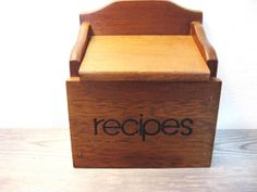 Retro Kitchen Cool! VIntage Recipe Box  Wood Recipe Box  Mid Century by ZenDenVintage, $24.00