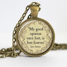 Jane Austen Pride and Prejudice Necklace by 30SomethingDesign #FavoriteAustenMoment #DearMrKnightley