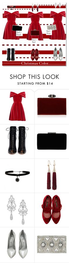 """""""Christmas Color"""" by igedesubawa ❤ liked on Polyvore featuring Emilio De La Morena, Judith Leiber, Gianvito Rossi, John Lewis, Forever New, Eddie Borgo, Wrapped In Love, Dolce&Gabbana, Casadei and H&M"""