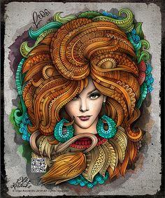 Zodiac illustration by Olka Kostenko Zodiac Art, Leo Zodiac, Astrology Zodiac, Zodiac Signs, Mandala Artwork, Ukrainian Art, Illustration, Doodle Art, Female Art