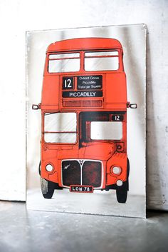 Vintage Mirror - London Bus Print. boy room decor.