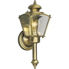 Progress Lighting P5846-11 Wall Torch with Clear Beveled Glass Panels, Antique Brass by Progress Lighting. $54.45. From the Manufacturer                Traditional carriage lantern style with clear, beveled glass panels. BrassGUARD fixtures feature a proprietary lacquer finish proven to extend the life and finish of solid brass fixtures. Wall torch with clear beveled glass panels. Uses (1) 60-Watt medium base bulb 5-1/2-Inch Width by 15-Inch Height                         ...