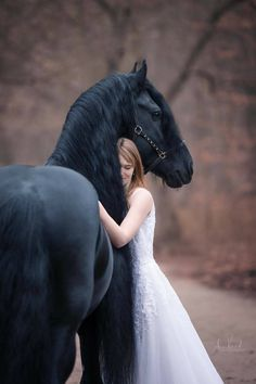 Pretty black horse and lady hugging him in a white gown.