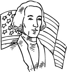 American Flag Behind US 1st President For Independence Day Coloring Pages - Download & Print Online Coloring Pages for Free | Color Nimbus
