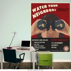 Zombies Watch Your Neighbor Wall Decal. Steve Thomas created graphics for newspapers for several years before following his heart and becoming an inspired freelance artist. His love of propaganda, retro-futurism, and vintage style art is visible in works such as this zombie wall decal. Our wall decals are made of textured polyester fabric with a glare-free matte finish. They're easy to apply and remove, and are the perfect decorating choice for apartments, dorms, offices, no holes in the…