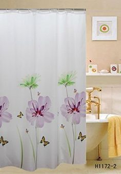 """Luxurious Purple Fabric Shower Curtain, 70""""x70"""", Lily"""